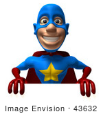 #43632 Royalty-Free (Rf) Cartoon Illustration Of A Friendly 3d Superhero Mascot Promoting And Holding Up A Blank White Board
