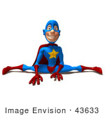 #43633 Royalty-Free (Rf) Cartoon Illustration Of A Flexible Male 3d Superhero Mascot Doing The Splits
