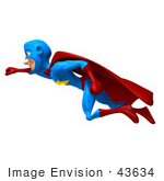 #43634 Royalty-Free (Rf) Cartoon Illustration Of A Male 3d Superhero Mascot Smiling And Flying Left