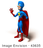 #43635 Royalty-Free (Rf) Cartoon Illustration Of A Friendly 3d Superhero Mascot Standing And Waving