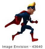 #43640 Royalty-Free (Rf) Cartoon Illustration Of A Blond 3d Superhero Mascot Running Right