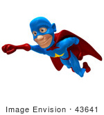 #43641 Royalty-Free (Rf) Cartoon Illustration Of A Male 3d Superhero Mascot Smiling And Flying Slightly Left