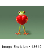 #43645 Royalty-Free (Rf) Cartoon Illustration Of A 3d Green Tree Frog Character Holding A Love Heart - Pose 5