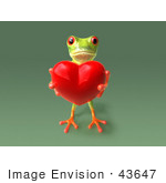 #43647 Royalty-Free (Rf) Cartoon Illustration Of A 3d Green Tree Frog Character Holding A Love Heart - Pose 6