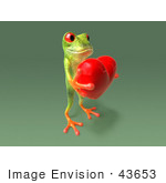 #43653 Royalty-Free (Rf) Cartoon Illustration Of A 3d Green Tree Frog Character Holding A Love Heart - Pose 8