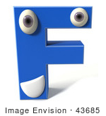 #43685 Royalty-Free (Rf) Illustration Of A 3d Blue Alphabet Letter F Character With Eyes And A Mouth