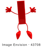 #43708 Royalty-Free (Rf) Illustration Of A 3d Red Letter I Character With Arms And Legs Jumping