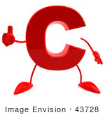 #43728 Royalty-Free (Rf) Illustration Of A 3d Red Letter C Character With Arms And Legs Giving The Thumbs Up