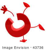 #43736 Royalty-Free (Rf) Illustration Of A 3d Red Letter C Character With Arms And Legs Doing A Cartwheel