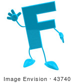 #43740 Royalty-Free (Rf) Illustration Of A 3d Turquoise Letter F Character With Arms And Legs