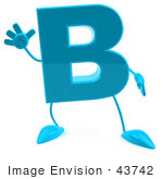 #43742 Royalty-Free (Rf) Illustration Of A 3d Turquoise Letter B Character With Arms And Legs