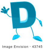 #43745 Royalty-Free (Rf) Illustration Of A 3d Turquoise Letter D Character With Arms And Legs