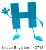 #43749 Royalty-Free (Rf) Illustration Of A 3d Turquoise Letter H Character With Arms And Legs