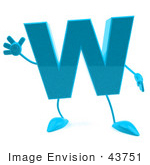 #43751 Royalty-Free (Rf) Illustration Of A 3d Turquoise Letter W Character With Arms And Legs