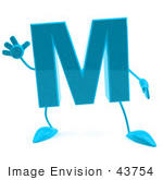 #43754 Royalty-Free (Rf) Illustration Of A 3d Turquoise Letter M Character With Arms And Legs