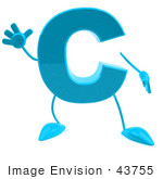 #43755 Royalty-Free (Rf) Illustration Of A 3d Turquoise Letter C Character With Arms And Legs