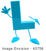 #43756 Royalty-Free (Rf) Illustration Of A 3d Turquoise Letter L Character With Arms And Legs