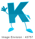 #43757 Royalty-Free (Rf) Illustration Of A 3d Turquoise Letter K Character With Arms And Legs