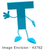 #43762 Royalty-Free (Rf) Illustration Of A 3d Turquoise Letter T Character With Arms And Legs