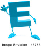#43763 Royalty-Free (Rf) Illustration Of A 3d Turquoise Letter E Character With Arms And Legs