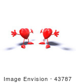 #43787 Royalty-Free (Rf) Illustration Of Two 3d Red Love Heart Characters Holding Their Arms Open For A Hug - Version 1
