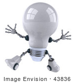 #43836 Royalty-Free (Rf) Illustration Of A 3d Robotic Incandescent Light Bulb Mascot Jumping