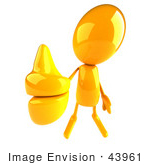 #43961 Royalty-Free (Rf) Illustration Of A 3d Orange Man Mascot Giving The Thumbs Up