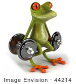 #44214 Royalty-Free (Rf) Illustration Of A 3d Red Eyed Tree Frog Mascot Lifting Weights - Pose 2