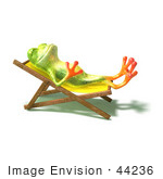 #44236 Royalty-Free (Rf) Illustration Of A Cute Green 3d Frog Sun Bathing - Pose 1