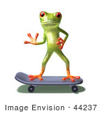 #44237 Royalty-Free (Rf) Illustration Of A Cute Green 3d Frog Skateboarding - Pose 5