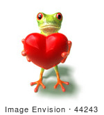 #44243 Royalty-Free (Rf) Illustration Of A Cute Green 3d Frog Holding A Love Heart - Pose 2