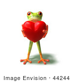 #44244 Royalty-Free (Rf) Illustration Of A Cute Green 3d Frog Holding A Love Heart - Pose 1