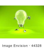 #44328 Royalty-Free (Rf) Illustration Of A 3d Incandescent Light Bulb Mascot Holding His Arms Out - Version 2