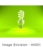 #44331 Royalty-Free (Rf) Illustration Of A Green 3d Spiral Fluorescent Light - Version 1