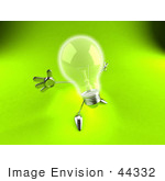 #44332 Royalty-Free (Rf) Illustration Of A 3d Incandescent Light Bulb Mascot Holding His Arms Out - Version 3