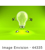 #44335 Royalty-Free (Rf) Illustration Of A 3d Incandescent Light Bulb Mascot Holding His Arms Out - Version 1