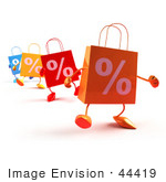 #44419 Royalty-Free (Rf) Illustration Of 3d Percent Shopping Bags Walking Forward - Version 3