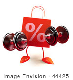 #44425 Royalty-Free (Rf) Illustration Of A 3d Red Percent Shopping Bag Mascot Lifting Weights
