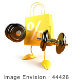 #44426 Royalty-Free (Rf) Illustration Of A 3d Yellow Percent Shopping Bag Mascot Lifting Weights