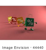 #44440 Royalty-Free (Rf) Illustration Of 3d Percent Sign Shopping Bags Walking Forward - Version 2
