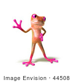 #44508 Royalty-Free (Rf) Illustration Of A Cute 3d Pink Tree Frog Mascot Waving - Pose 3