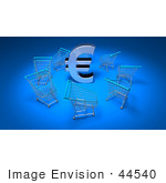#44540 Royalty-Free (Rf) Illustration Of A 3d Euro Sign Surrounded By Shopping Carts - Version 3