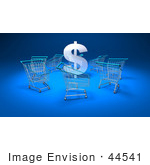 #44541 Royalty-Free (Rf) Illustration Of A 3d Dollar Sign Surrounded By Shopping Carts - Version 1