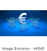 #44542 Royalty-Free (Rf) Illustration Of A 3d Euro Sign Surrounded By Shopping Carts - Version 1