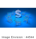 #44544 Royalty-Free (Rf) Illustration Of A 3d Dollar Sign Surrounded By Shopping Carts - Version 3