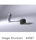 #44567 Royalty-Free (Rf) Illustration Of A 3d Human Like Character Watching Tv - Version 2
