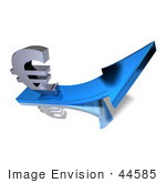 #44585 Royalty-Free (Rf) Illustration Of A 3d Euro Sign Riding On A Blue Arrow - Version 3