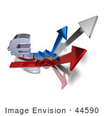 #44590 Royalty-Free (Rf) Illustration Of A 3d Euro Sign On Three Increase Arrows - Version 2