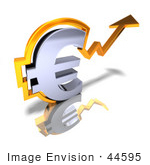 #44595 Royalty-Free (Rf) Illustration Of A 3d Chrome Euro Symbol With An Arrow Forming Around It - Version 2