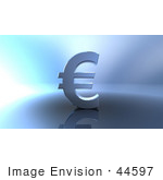 #44597 Royalty-Free (Rf) Illustration Of A 3d Euro Symbol On A Metallic Background - Version 4